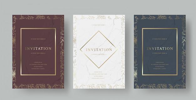 Tarjeta de invitación de boda de lujo vintage