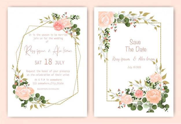 Tarjeta de invitación de boda marco dibujado a mano floral. invitación de boda de invernadero, plantilla de invitación de boda de eucalipto.