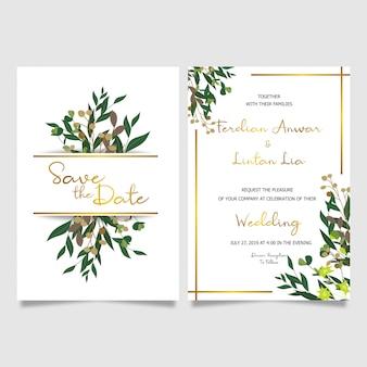 Tarjeta de invitación de boda marco dorado