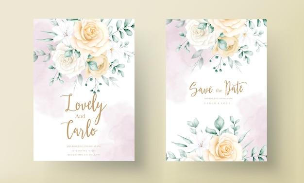 Tarjeta de invitación de boda con marco floral acuarela dibujada a mano