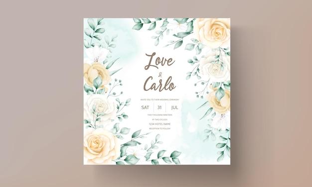 Tarjeta de invitación de boda con marco floral acuarela dibujada a mano vector gratuito