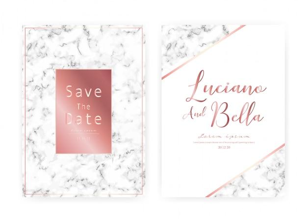 Tarjeta de invitación de boda de mármol, ahorre la fecha tarjeta de boda, diseño de tarjeta moderna con textura de mármol