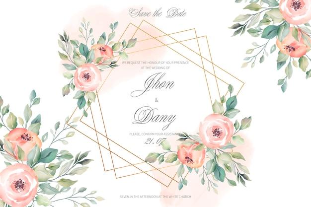 Tarjeta de invitación de boda melocotón y oro