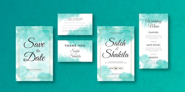 Tarjeta de invitación de boda y menú con elegante diseño de plantilla de guirnalda de marco dorado estilo abstracto suave acuarela. conjunto de tarjeta de invitación de boda de color turquesa.