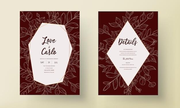 Tarjeta de invitación de boda moderna deja adornos de diseño
