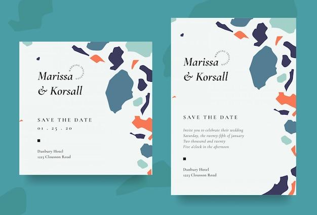 Tarjeta de invitación de boda moderna con forma abstracta