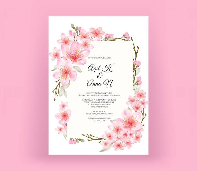 Tarjeta de invitación de boda moderna con hermosa flor de cerezo