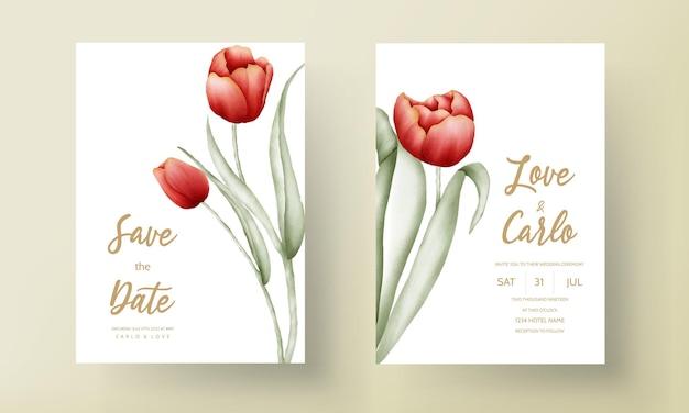 Tarjeta de invitación de boda moderna con hermosa flor de tulipán rojo