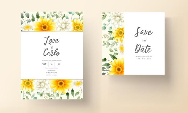 Tarjeta de invitación de boda moderna con hermosas decoraciones florales de acuarela