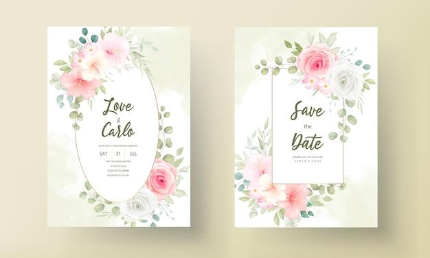 Tarjeta de invitación de boda moderna con hermosas flores