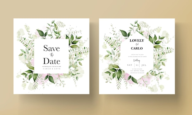 Tarjeta de invitación de boda moderna con hojas de acuarela