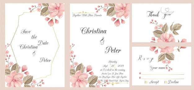 Tarjeta de invitación de boda moderna con tarjeta de agradecimiento y rsvp