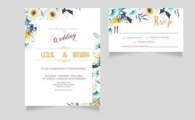 Tarjeta de invitación de boda moderna y tarjeta rsvp