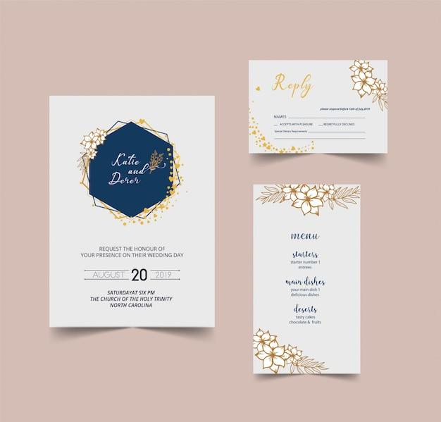Tarjeta de invitación de boda moderna