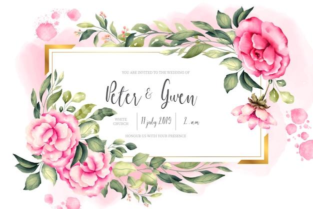 Tarjeta de invitación de boda con naturaleza vintage
