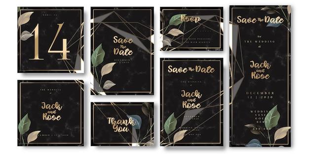 Tarjeta de invitación de boda negra y dorada de lujo