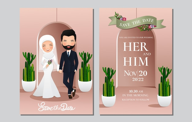 Tarjeta de invitación de boda la novia y el novio linda pareja musulmana de dibujos animados con hermoso fondo