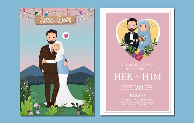 Tarjeta de invitación de boda la novia y el novio linda pareja musulmana de dibujos animados con paisaje hermoso fondo
