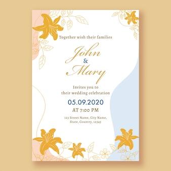 Tarjeta de invitación de boda o folleto con detalles del lugar.