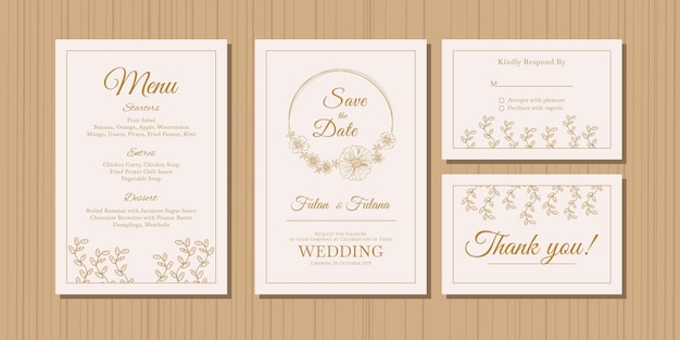 Tarjeta de invitación de boda con oro doodle bosquejo esquema floral y flor plantilla de estilo de diseño ornamental