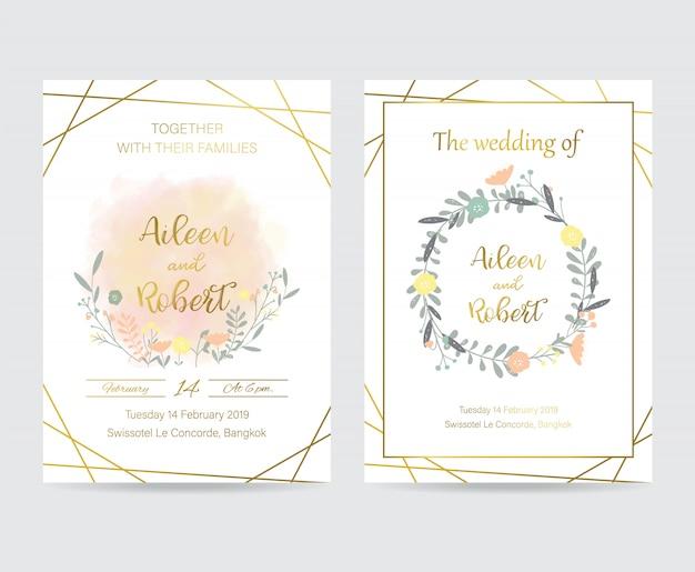 Tarjeta de invitación de boda de oro geometría con flor, hoja y marco
