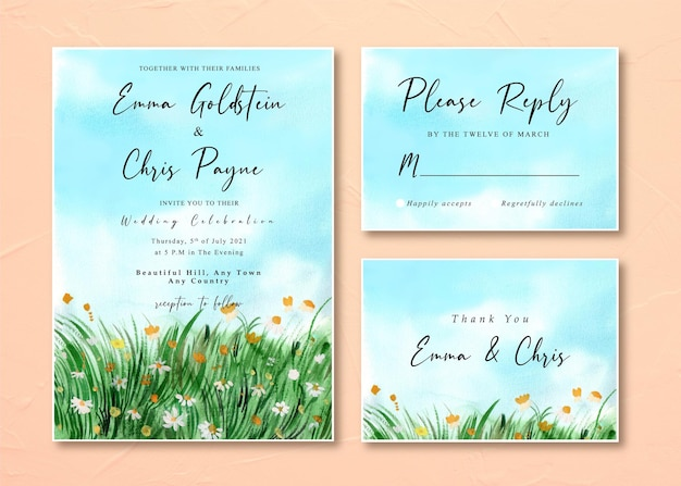 Tarjeta de invitación de boda con paisaje de campo de hierba de margaritas de acuarela