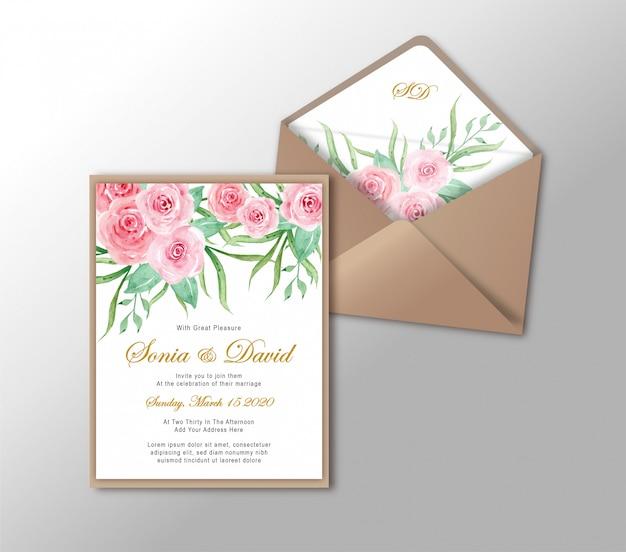 Tarjeta de invitación de boda papelería oro