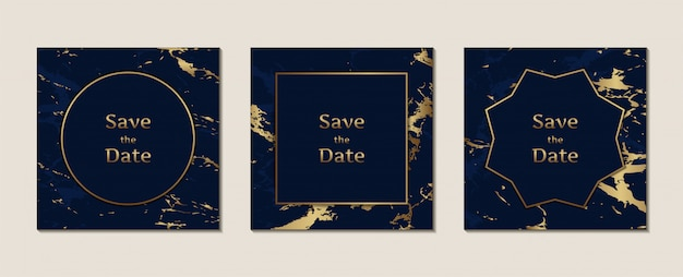 Tarjeta de invitación de boda con patrón de mármol azul oscuro