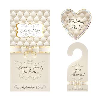 Tarjeta de invitación de boda, percha de advertencia e insignia.