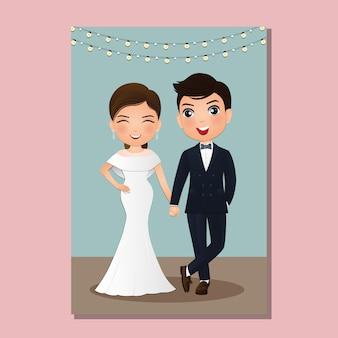 Tarjeta de invitación de boda el personaje de dibujos animados linda pareja de novios