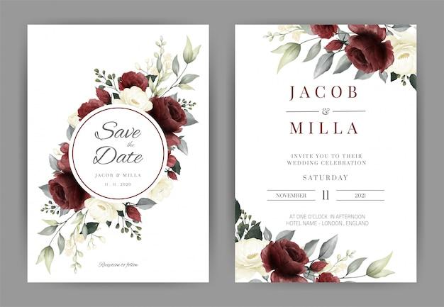 Tarjeta de invitación de boda con plantilla de acuarela rosa roja y blanca