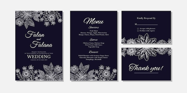 Tarjeta de invitación de boda plantilla de estilo de arte abstracto flor y contorno de doodle arte