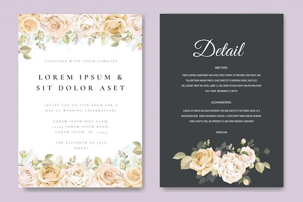 Tarjeta de invitación de boda con plantilla floral