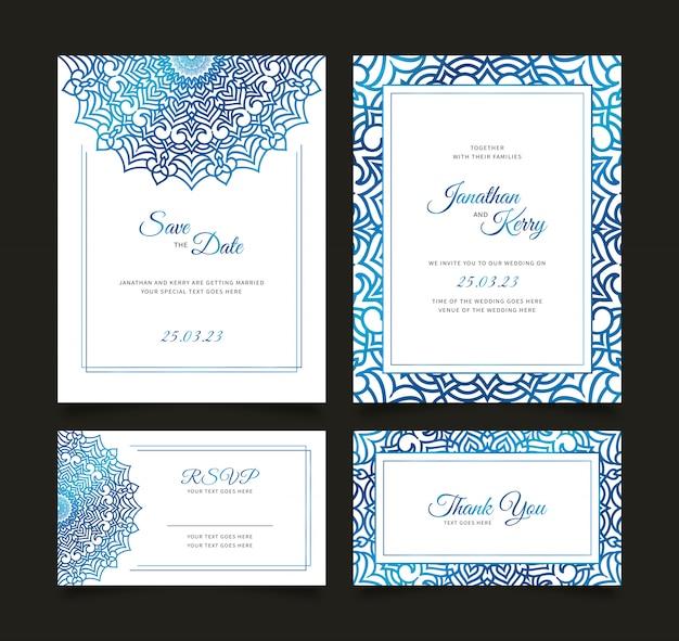 Tarjeta de invitación de boda con plantilla de fondo abstracto floral