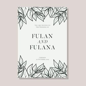 Tarjeta de invitación de boda con plantilla de fondo floral de guirnalda botánica doodle dibujado a mano abstracto
