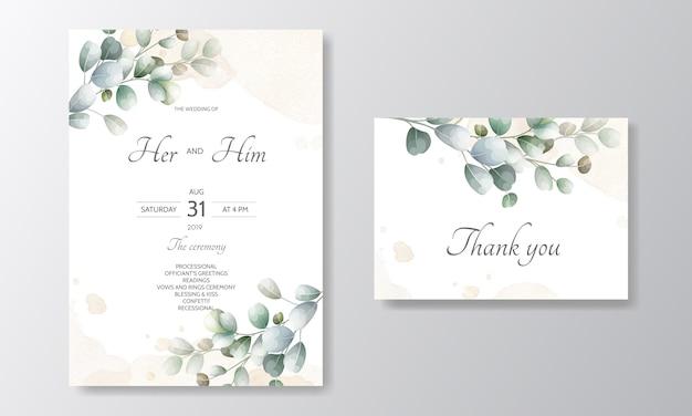 Tarjeta de invitación de boda con plantilla de hojas de eucalipto