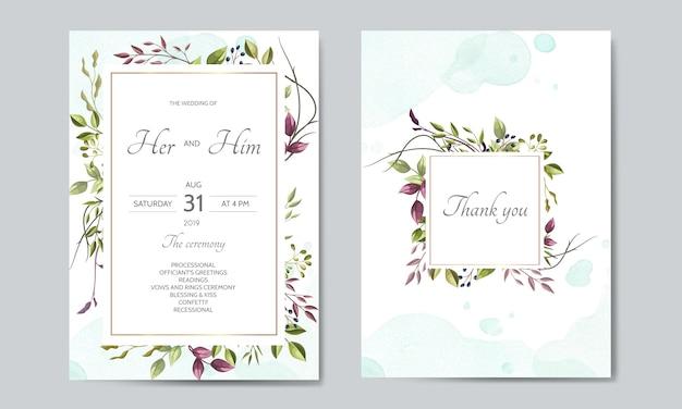 Tarjeta de invitación de boda con plantilla de hojas verdes