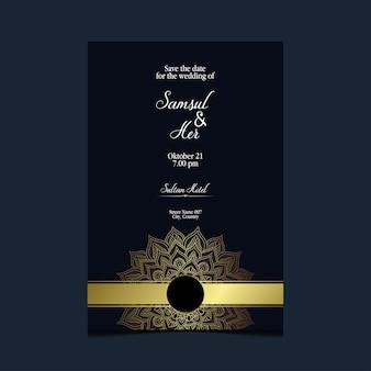 Tarjeta de invitación de boda con plantilla de mandala. mano dibujo mandala zentangle.