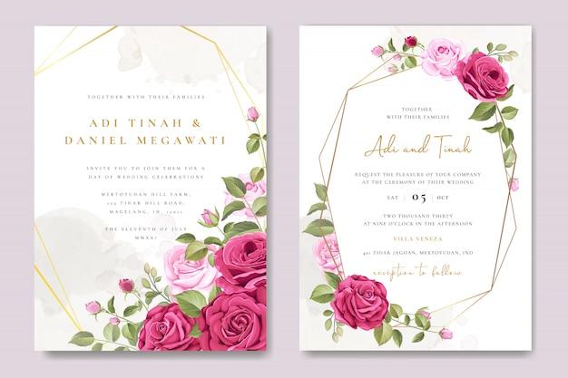 Tarjeta de invitación de boda con plantilla de marco floral y hojas