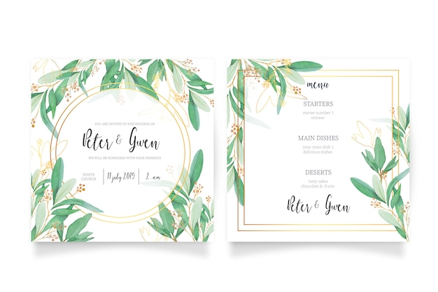 Tarjeta de invitación de boda y plantilla de menú