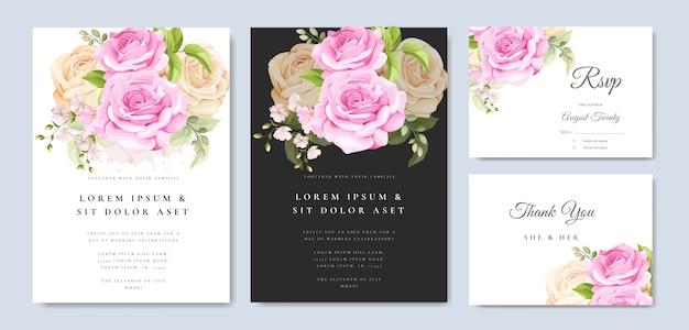 Tarjeta de invitación de boda con plantilla de rosas amarillas y rosadas