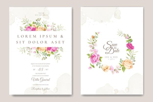 Tarjeta de invitación de boda con plantilla de rosas hermosas