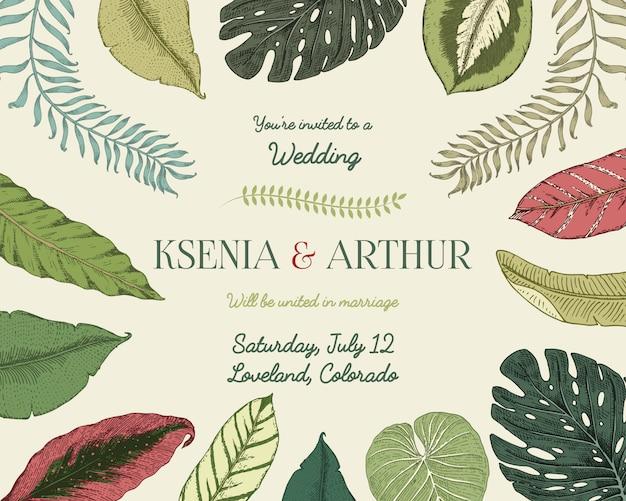 Tarjeta de invitación de boda, plantilla vintage grabada para matrimonio
