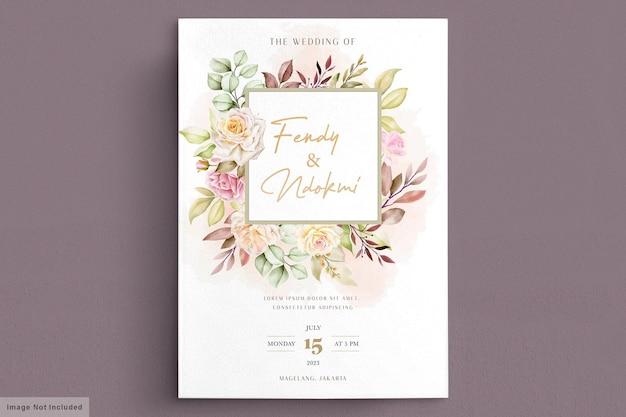 Tarjeta de invitación de boda romántica acuarela rosas blancas