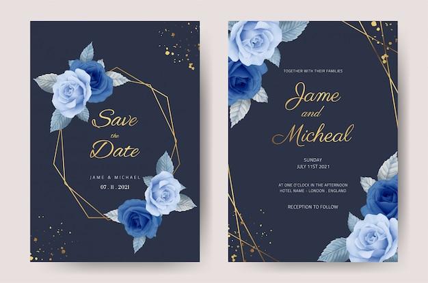 Tarjeta de invitación de boda rosa azul marino con marco dorado