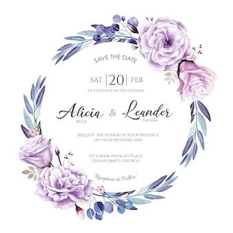 Tarjeta de invitación de boda rosa morada