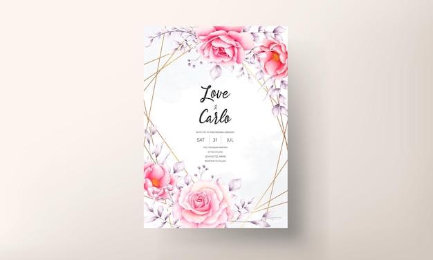 Tarjeta de invitación de boda rosa roja acuarela