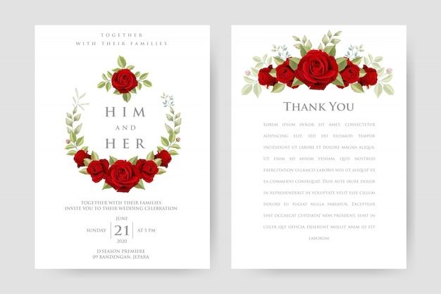 Tarjeta de invitación de boda con rosas rojas y plantilla de hojas