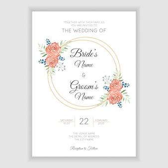 Tarjeta de invitación de boda rústica con corona de flores acuarela