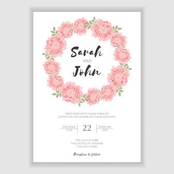 Tarjeta de invitación de boda rústica con corona de flores